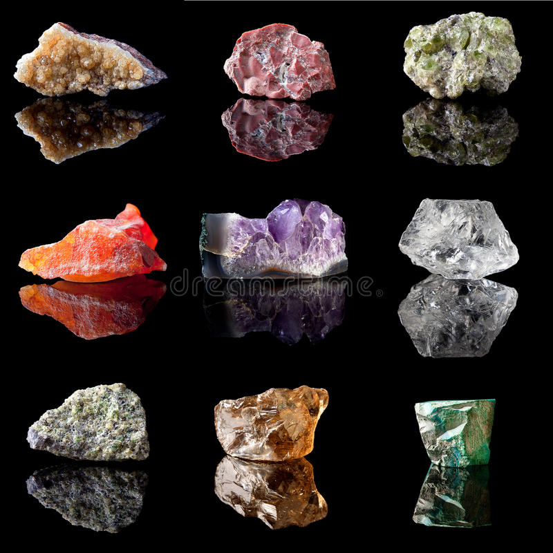 Birthstones e pietre preziose semi preziose fotografia stock libera da diritti