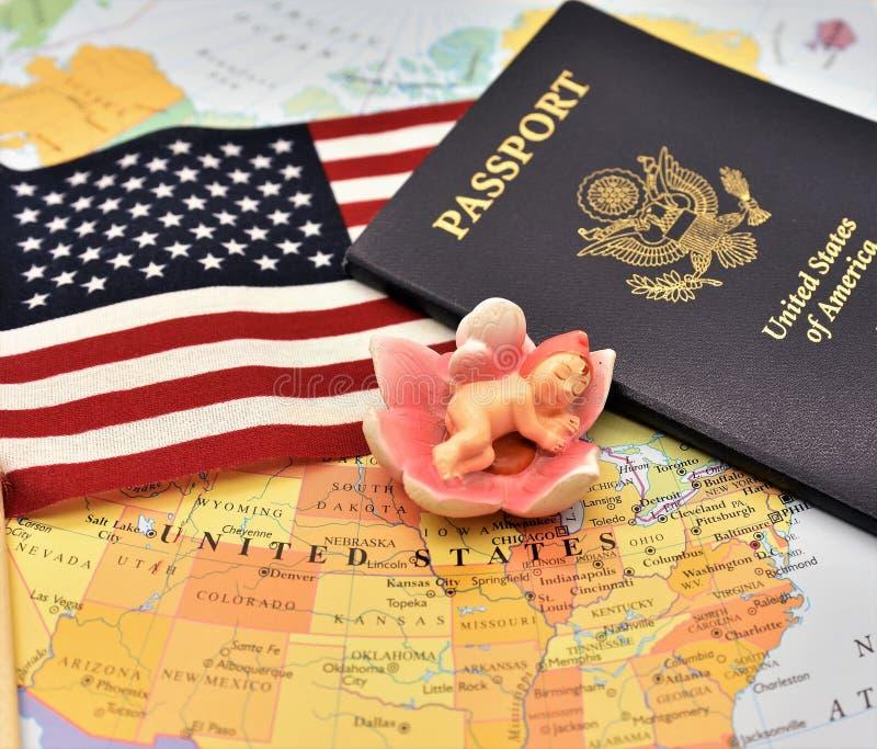 Birtright de la citoyenneté des USA par l'intermédiaire de la naissance par l'article 14 de constitution des USA images libres de droits