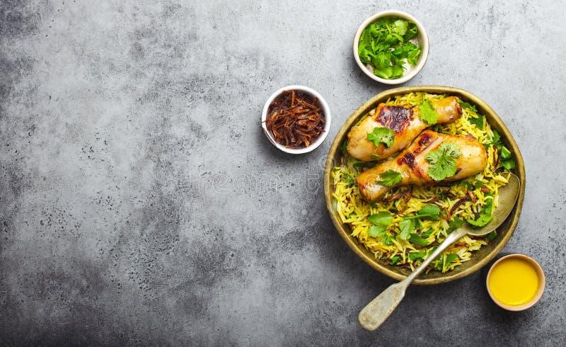 Biryani鸡用印度大米 免版税库存照片