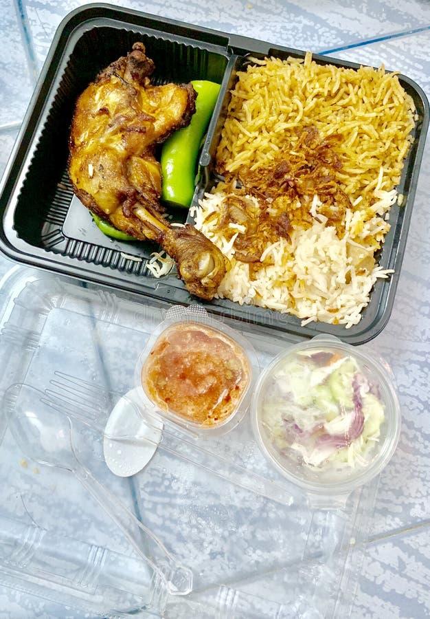 Biryani, εύγευστο κοτόπουλο, ινδικό ή αραβικό ύφος στοκ εικόνες