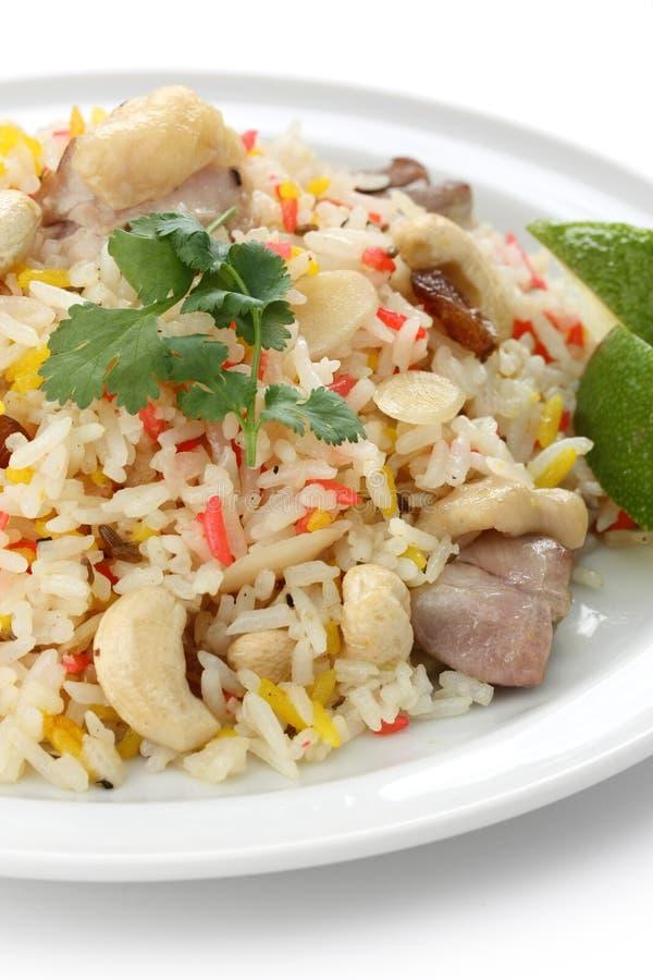 Biryani da galinha, arroz indiano do pilau fotografia de stock royalty free