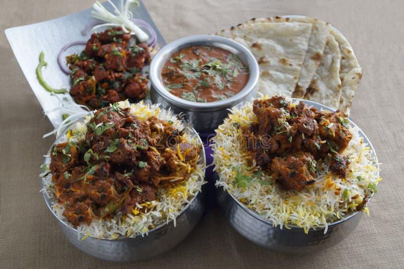 Biryani de mouton, cari de mouton, Kababs, Tandoor Roti image libre de droits