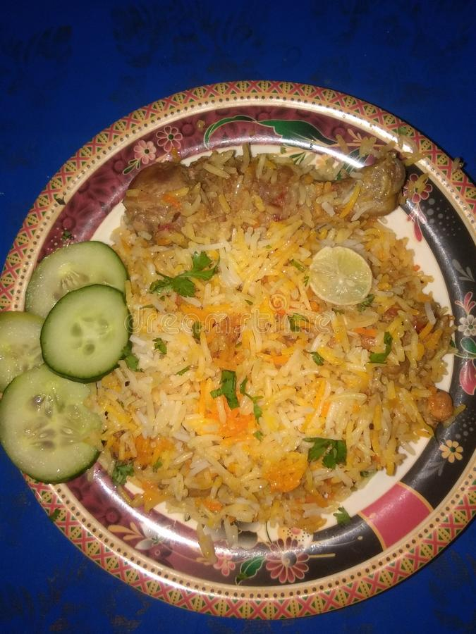 Biryani delicioso feito por mim imagens de stock
