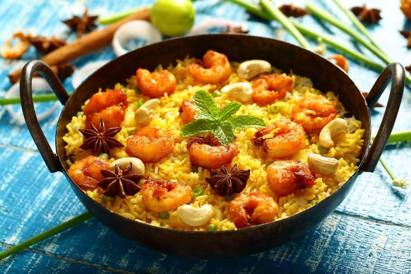 Biryani delizioso casalingo dei frutti di mare, ricetta asiatica fotografia stock libera da diritti