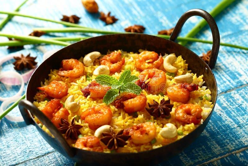 Biryani delizioso casalingo dei frutti di mare, ricetta asiatica immagine stock libera da diritti