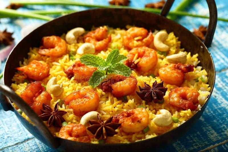 Biryani delizioso casalingo dei frutti di mare, ricetta asiatica immagine stock