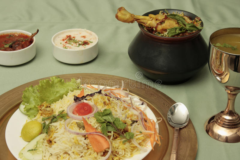 Biryani - An Indian rice dish with meat/vegetables royalty free stock photography