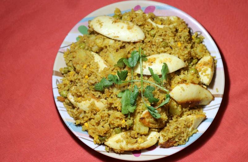 Biryani indiano do arroz do ovo do estilo fotos de stock