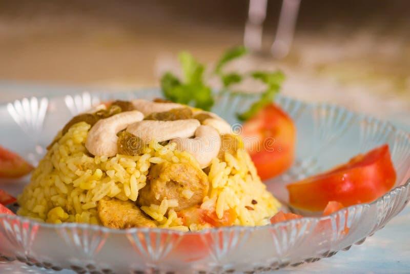 Biryani, plato indio del arroz fotografía de archivo