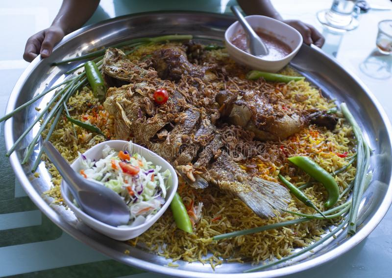 Biryani rice ramadan dinner food Islam,Concept: Delicious cooked hyderabadi food for Asian East Asian people,chawal with spicy stock photo