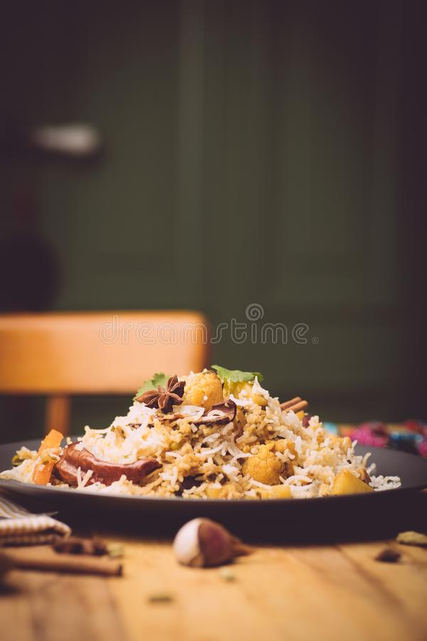 Biryani rice Vegetable biryani. Indian basmati rice, curry vegetables and spices. Indian kitchen royalty free stock photos