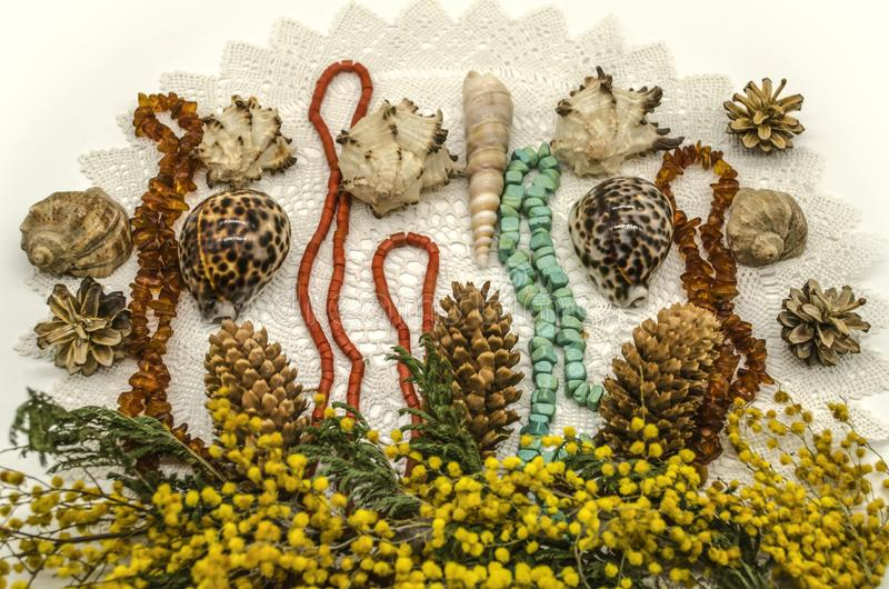 Sprigs of yellow Mimosa  with pine cones, sea shells and beads of amber, turquoise and red coral on knitted of white yarn laced na stock images