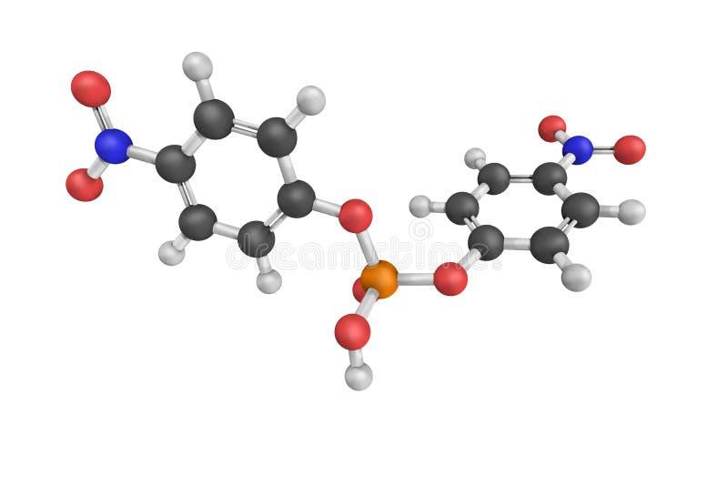 Bis(4-nitrophenyl)phosphate, a sodium salt. 3d model.  royalty free stock image