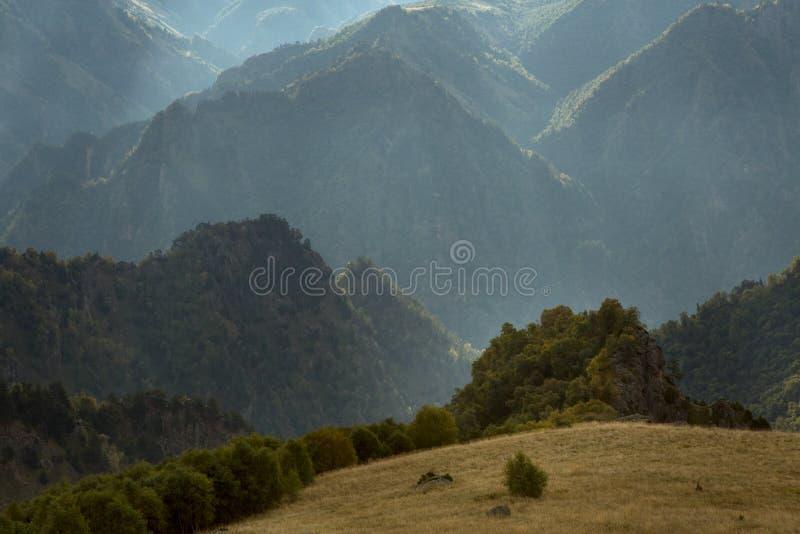 Bisarrt bergigt landskap som filmas mot ljuset royaltyfri foto