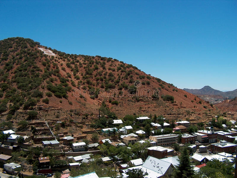 Bisbee Arizona - mining town near the Mexican border. Aerial view. Aerial view of Bisbee Arizona. An old mining town turned artist`s colony in the high desert stock photos