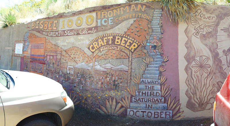 Bisbee, de Trede van Arizona beklimt Panorama stock afbeeldingen