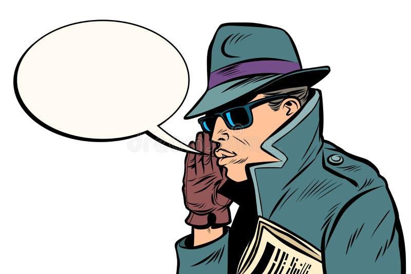Bisbiglio dell'agente segreto della spia illustrazione vettoriale