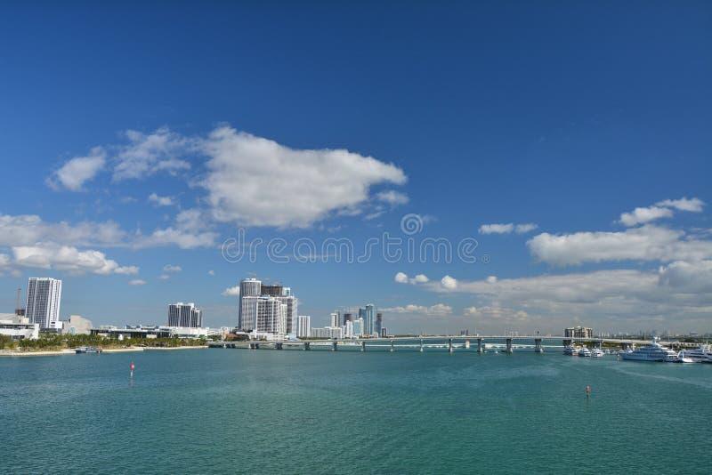 Biscane fjärd Miami royaltyfri fotografi