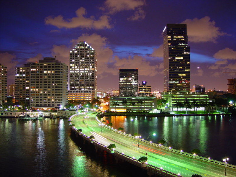 Download Biscayne stock photo. Image of west, skyscrapers, night - 16626