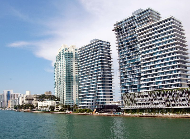 Biscayne Bay Condos. View of condos on Biscayne Bay in te southbeach section of Miami Beach,Florida royalty free stock image