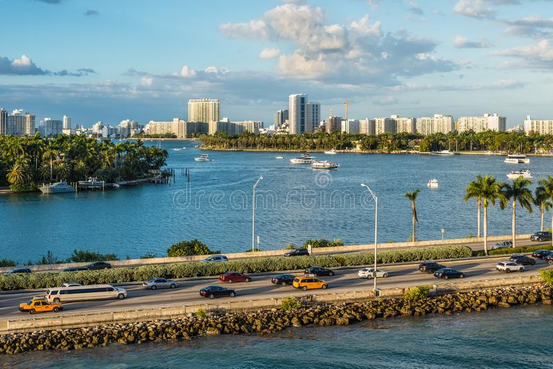Biscayne Bay and Macarthur Causeway Florida scenics, United States of America. Miami, FL, United States - April 20, 2019:  View of MacArthur Causeway and the stock image