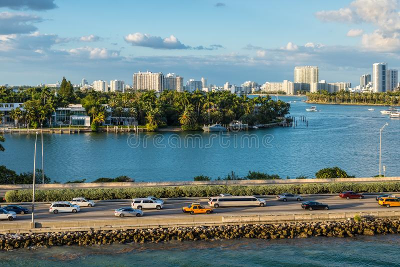 Biscayne Bay and Macarthur Causeway Florida scenics, United States of America. Miami, FL, United States - April 20, 2019:  View of MacArthur Causeway and the royalty free stock photo