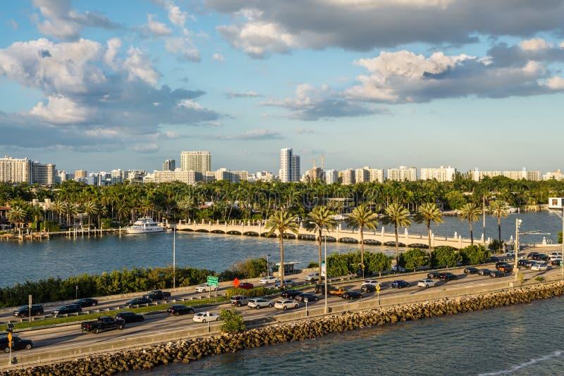 Biscayne Bay and Macarthur Causeway Florida scenics, United States of America. Miami, FL, United States - April 20, 2019:  View of MacArthur Causeway and Palm royalty free stock image