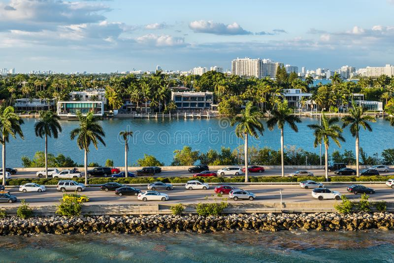 Biscayne Bay and Macarthur Causeway Florida scenics, United States of America. Miami, FL, United States - April 20, 2019:  View of MacArthur Causeway and Palm stock photography