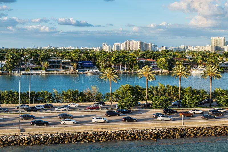 Biscayne Bay and Macarthur Causeway Florida scenics, United States of America. Miami, FL, United States - April 20, 2019:  View of MacArthur Causeway and Palm royalty free stock images