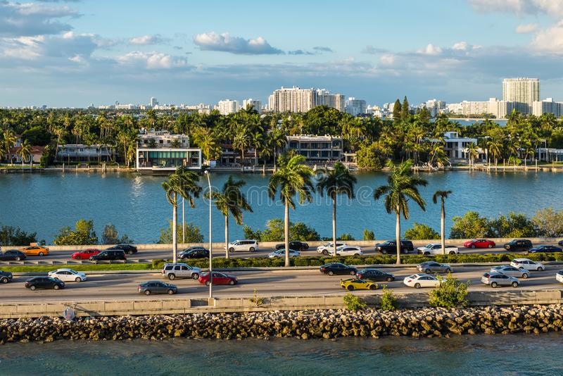 Biscayne Bay and Macarthur Causeway Florida scenics, United States of America. Miami, FL, United States - April 20, 2019:  View of MacArthur Causeway and Palm stock photo