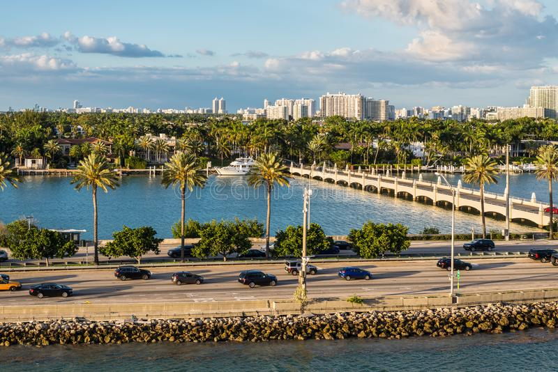 Biscayne Bay and Macarthur Causeway Florida scenics, United States of America. Miami, FL, United States - April 20, 2019:  View of MacArthur Causeway and Palm royalty free stock photo