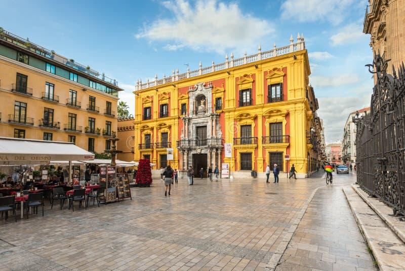 Bischop Square in Malaga, Andalusia, Spanje royalty-vrije stock afbeeldingen