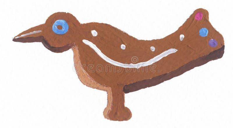 Biscoito do pássaro do pão-de-espécie ilustração do vetor