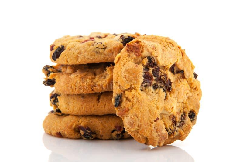 Biscoitos com chocolate e passas fotografia de stock royalty free