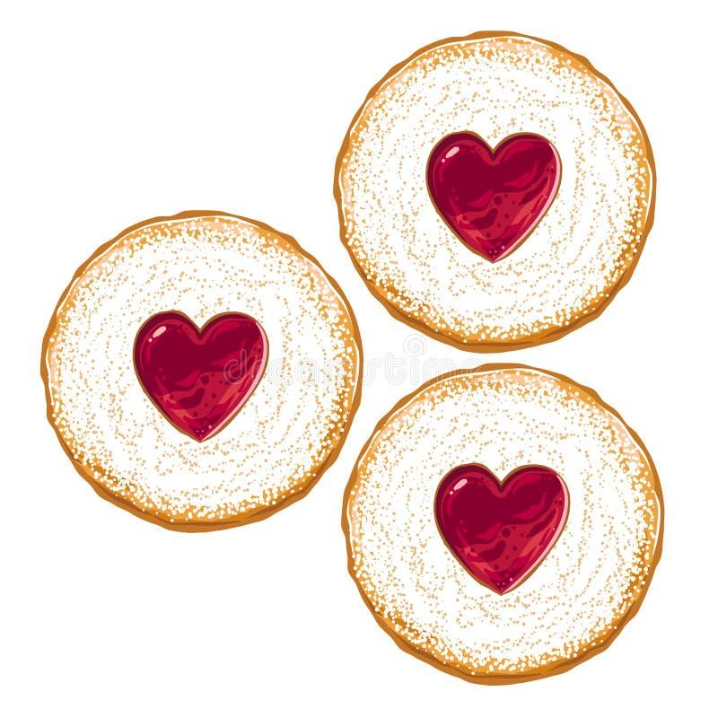 Biscoitos com congelamento de Sugar And Strawberry Jam na parte superior ilustração do vetor