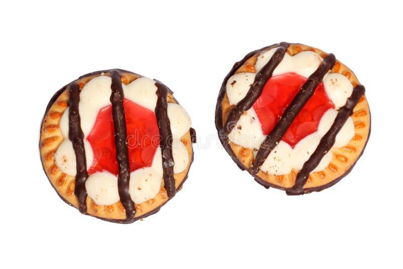 Biscoitos com geléia e chocolate imagem de stock royalty free