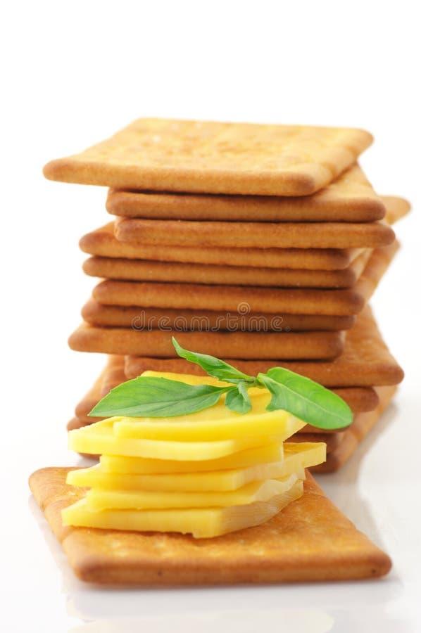 Biscoitos com queijo e manjericão imagens de stock royalty free