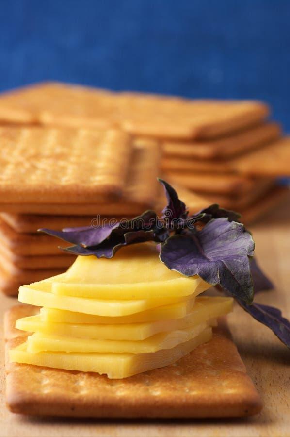 Biscoitos com queijo e manjericão fotos de stock
