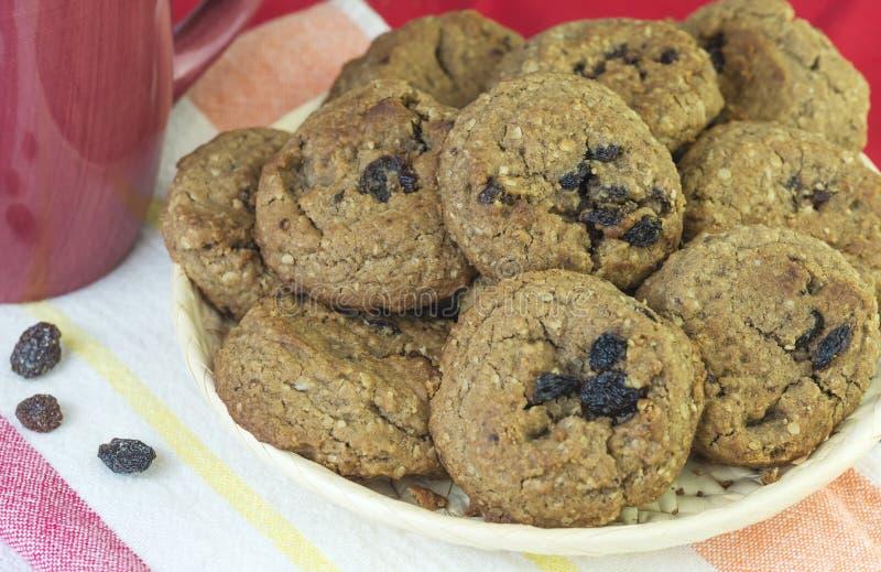 Biscoitos de passa da farinha de aveia foto de stock