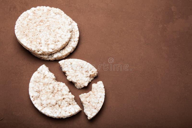 Biscoitos do arroz, espaço da cópia Alimento saudável fotografia de stock royalty free