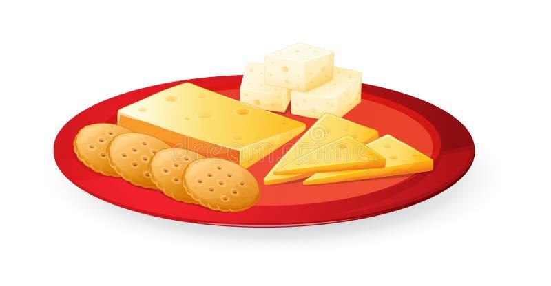 Biscoitos do queijo na placa ilustração do vetor
