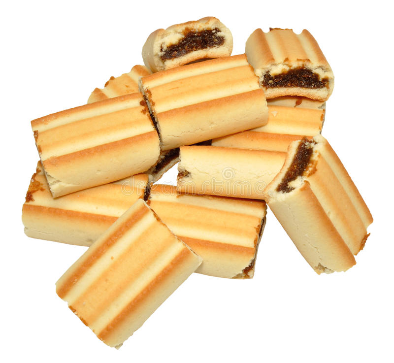Biscoitos do rolo do figo fotos de stock royalty free