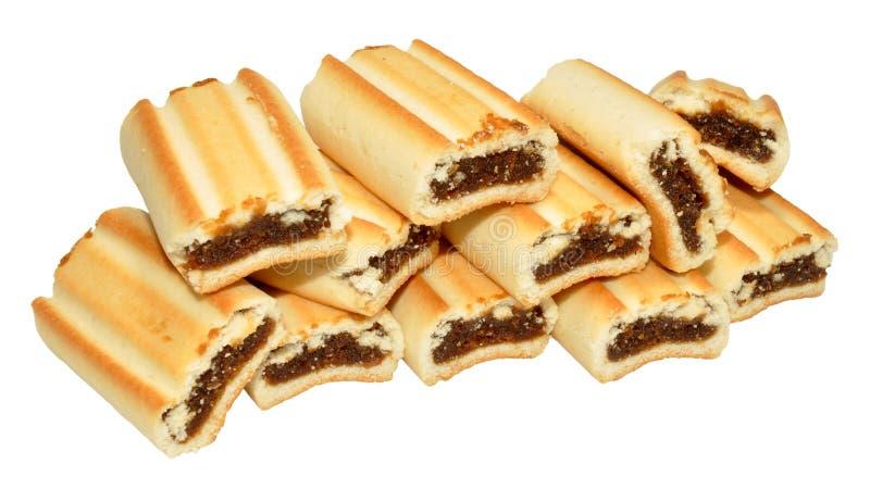 Biscoitos do rolo do figo fotografia de stock