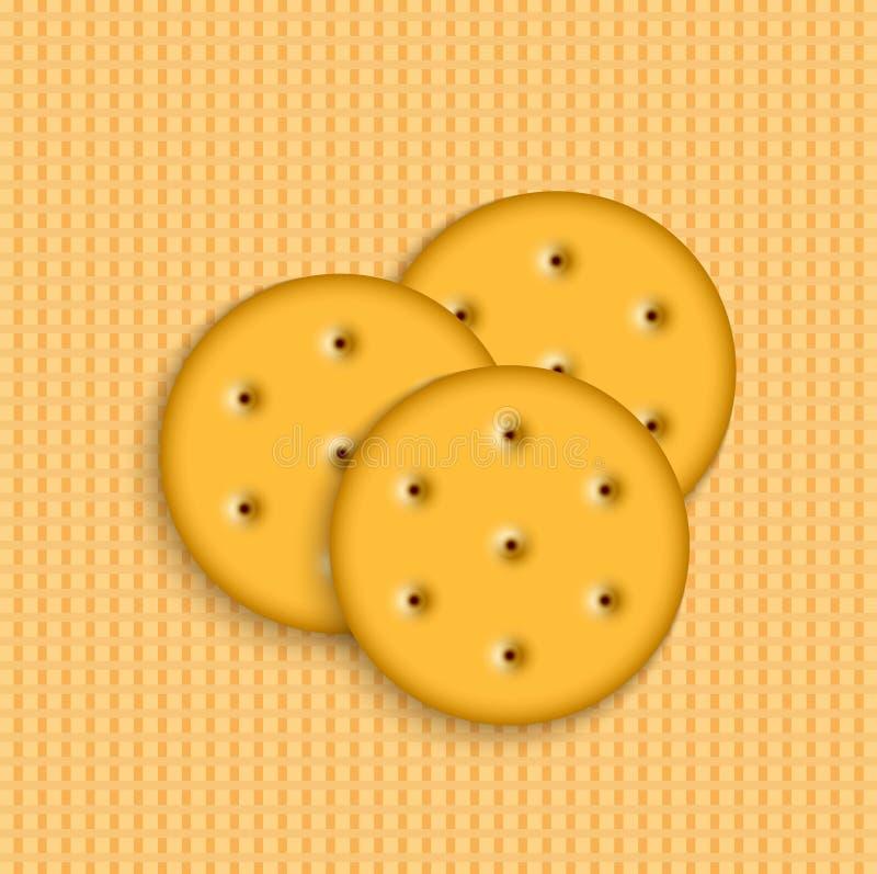 Biscoitos do vetor em fundo listrado ilustração royalty free