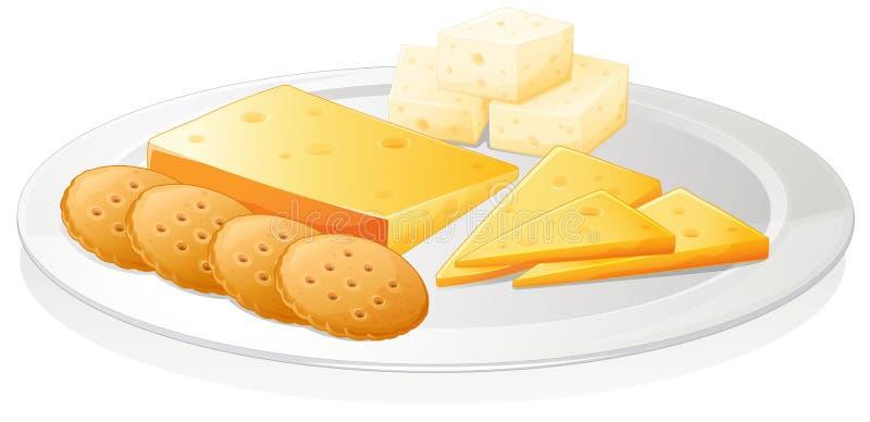 Biscoitos e queijo ilustração royalty free