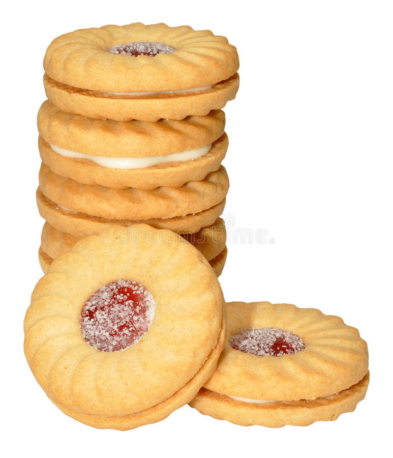 Biscoitos enchidos doce foto de stock