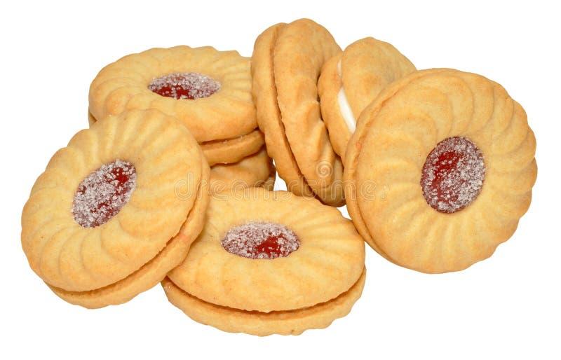 Biscoitos enchidos doce imagens de stock