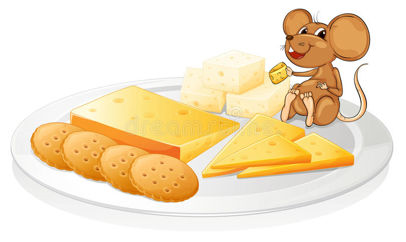 Biscoitos, queijo e rato ilustração do vetor