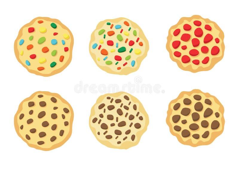 Biscotti al forno sul vettore bianco dell'illustrazione del fondo illustrazione di stock