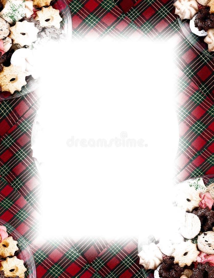 Biscotti & bordo del plaid su bianco illustrazione vettoriale